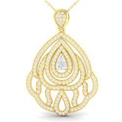 2 ctw Micro Pave VS/SI Diamond Designer Necklace 18k Yellow Gold