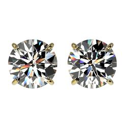 2.09 ctw Certified Quality Diamond Stud Earrings 10k Yellow Gold