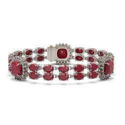 21.83 ctw Ruby & Diamond Bracelet 14K White Gold
