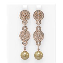 2.83 ctw Diamond & Pearl Earrings 18K Rose Gold