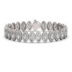 20.25 ctw Marquise Cut Diamond Micro Pave Bracelet 18K White Gold