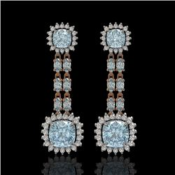 19.64 ctw Sky Topaz & Diamond Earrings 14K Rose Gold