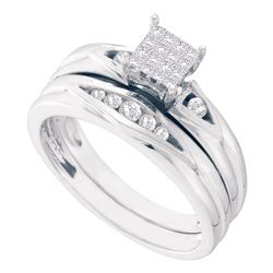 14kt White Gold Princess Diamond Bridal Wedding Engagement Ring Band Set 1/4 Cttw