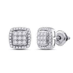 10kt White Gold Round Diamond Square Cluster Earrings 1/2 Cttw