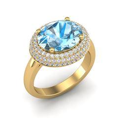 5 ctw Sky Blue Topaz & Micro Pave VS/SI Diamond Ring 18k Yellow Gold