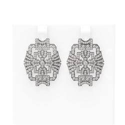 3.61 ctw Diamond Earrings 18K White Gold
