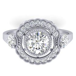1.9 ctw Certified VS/SI Diamond Art Deco 3 Stone Ring 14k White Gold
