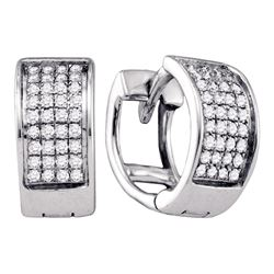 Sterling Silver Diamond Unisex Mens Huggie Hoop Earrings 1/6 Cttw
