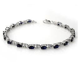6.10 ctw Blue Sapphire & Diamond Bracelet 14k White Gold