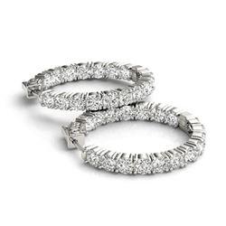 7.5 ctw Diamond VS/SI 37 MM Hoop Earrings 14k White Gold
