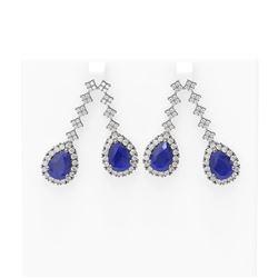 15.49 ctw Sapphire & Diamond Earrings 18K White Gold