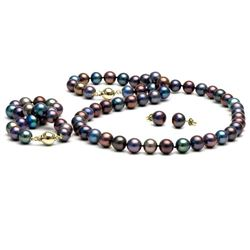 Black Freshwater Pearl 3-Piece Jewelry Set, 8.5-9.0mm