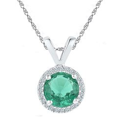 Sterling Silver Round Lab-Created Emerald Solitaire Pendant 7/8 Cttw