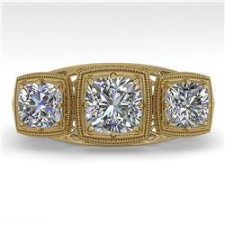 2 ctw Past Present Future VS/SI Cushion Diamond Ring Deco 18k Yellow Gold