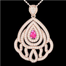 2 ctw Pink Sapphire & Micro Pave VS/SI Diamond Necklace 14k Rose Gold
