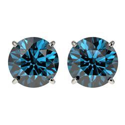 3 ctw Certified Intense Blue Diamond Stud Earrings 10k White Gold
