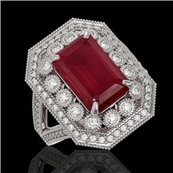 7.11 ctw Certified Ruby & Diamond Victorian Ring 14K White Gold