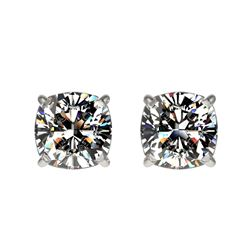 1 ctw Certified VS/SI Quality Cushion Diamond Stud Earrings 10k White Gold