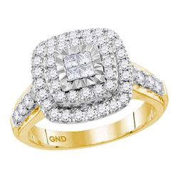 14kt Yellow Gold Princess Diamond Square Cluster Bridal Wedding Engagement Ring 1.00 Cttw