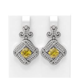 6.31 ctw Canary Citrine & Diamond Earrings 18K White Gold