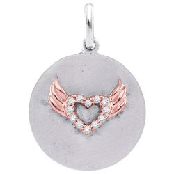 Sterling Silver Round Diamond Angel Wings Heart Medallion Pendant 1/20 Cttw
