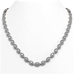 15.74 ctw Marquise Cut Diamond Micro Pave Necklace 18K White Gold