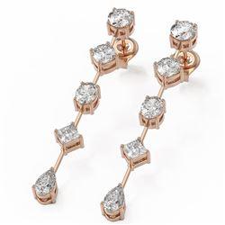 2.74 ctw Mix cut Diamonds Designer Earrings 18K Rose Gold