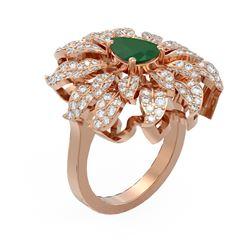 3.52 ctw Emerald & Diamond Ring 18K Rose Gold