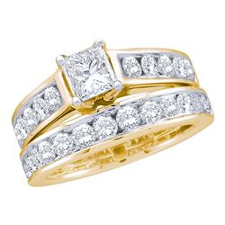 14k Yellow Gold Princess Diamond Solitaire Wedding Bridal Engagement Ring Set 1.00 Cttw