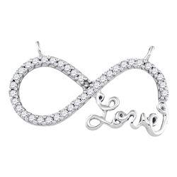 10kt White Gold Round Diamond Infinity Pendant Necklace 1/5 Cttw