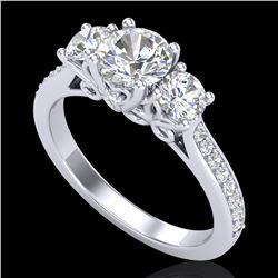1.67 ctw VS/SI Diamond Solitaire Art Deco 3 Stone Ring 18k White Gold
