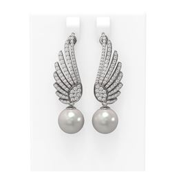 2.16 ctw Diamond & Pearl Earrings 18K White Gold