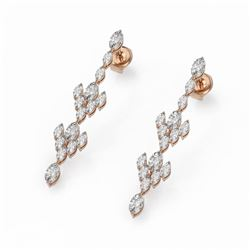 5.28 ctw Oval & Marquise Diamond Earrings 18K Rose Gold