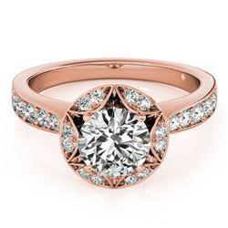 1.5 ctw Certified VS/SI Diamond Halo Ring 14k Rose Gold