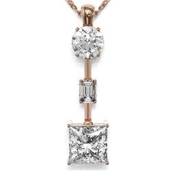 2.5 ctw Princess Cut Diamond Designer Necklace 18K Rose Gold