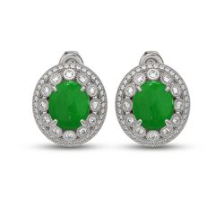 10.61 ctw Jade & Diamond Victorian Earrings 14K White Gold