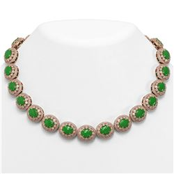 101.75 ctw Jade & Diamond Victorian Necklace 14K Rose Gold