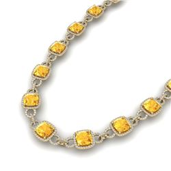 66 ctw Citrine & VS/SI Diamond Certified Necklace 14K Yellow Gold