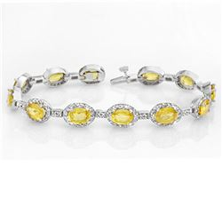 19.6 ctw Yellow Sapphire & Diamond Bracelet 14k White Gold