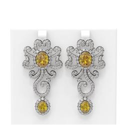 14.37 ctw Canary Citrine & Diamond Earrings 18K White Gold