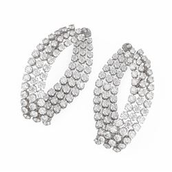 7.6 ctw Diamond Designer Earrings 18K White Gold