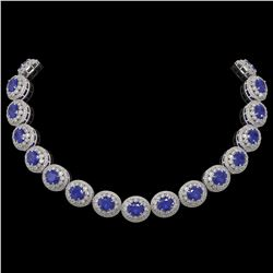 111.75 ctw Sapphire & Diamond Victorian Necklace 14K White Gold