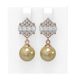 2.98 ctw Diamond & Pearl Earrings 18K Rose Gold