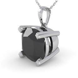 3 ctw Cushion Black Diamond Designer Necklace 18k White Gold