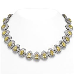 103.62 ctw Canary Citrine & Diamond Victorian Necklace 14K White Gold