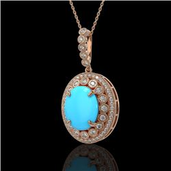 8.97 ctw Turquoise & Diamond Victorian Necklace 14K Rose Gold