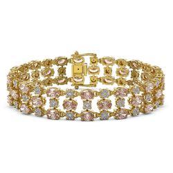 11.02 ctw Morganite & Diamond Row Bracelet 10K Yellow Gold