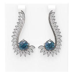 7.1 ctw Intense Blue Diamond Earrings 18K White Gold