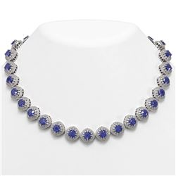 82.17 ctw Sapphire & Diamond Victorian Necklace 14K White Gold