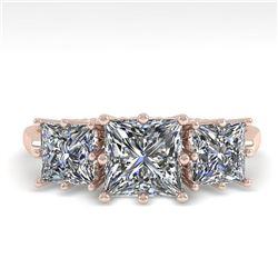 2.0 ctw Past Present Future VS/SI Princess Diamond Ring 18k Rose Gold